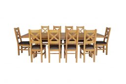Country Oak 340cm Extending Cross Leg Square Table & 10 Windermere Brown Leather