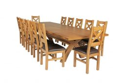 Country Oak 340cm Extending Cross Leg Square Table & 12 Windermere Brown Leather