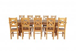 Country Oak 340cm Extending Cross Leg Square Table & 10 Windermere Timber Seat C
