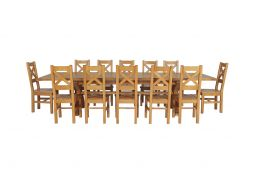 Country Oak 340cm Extending Cross Leg Square Table & 12 Windermere Timber Seat C