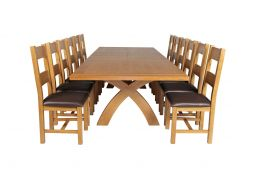 Country Oak 340cm Extending Cross Leg Square Table & 12 Chester Brown Leather Ch
