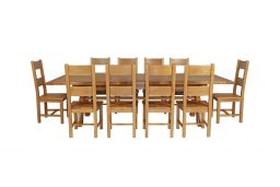 Country Oak 340cm Extending Cross Leg Square Table & 10 Chester Timber Seat Chai