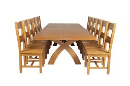 Country Oak 340cm Extending Cross Leg Square Table & 12 Chester Timber Seat Chai