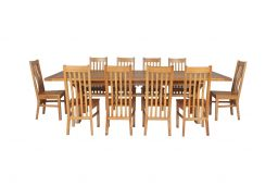 Country Oak 340cm Extending Cross Leg Square Table & 10 Chelsea Timber Seat Chai