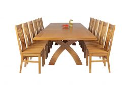 Country Oak 340cm Extending Cross Leg Square Table & 12 Chelsea Timber Seat Chai