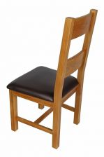 Chester Ladder Back Brown Leather Seat Oak Dining Chair