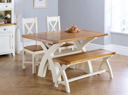 Country Oak 140cm Cream Painted X Leg Table 2 x Matching Chairs & Bench Dining Set