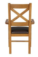 Windermere Cross Back Oak Carver Dining Chair With Brown Leather Seat