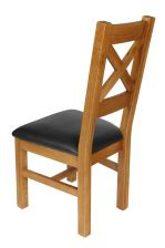 Windermere Cross Back Oak Chair With Black Leather Seat