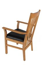Chelsea Solid Oak Brown Leather Carver Dining Chair