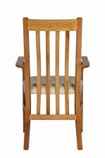 Chelsea Solid Oak Cream Leather Carver Dining Chair