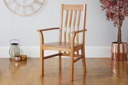 Chelsea Solid Oak Timber Seat Carver Dining Chair with arms