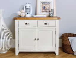 Country Cottage 100cm Grey Painted Oak Sideboard from Top Furniture