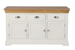 Country Oak Farmhouse 140cm Cream Painted Sideboard