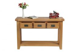 Country Oak 3 Drawer Console Table
