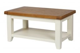 Country Oak Cream Painted Coffee Table with Shelf