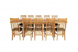 Country Oak 280cm Extending Table 10 Chelsea Brown Leather Chairs Set