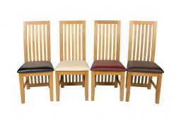 Cotswold Brown Leather Solid Oak Dining Chairs