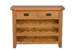 Country Oak 100cm Wine Rack With Drawer