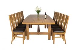 Chateaux 340cm Double Extending Solid Oak Table 12 Chelsea Brown Leather Oak Cha