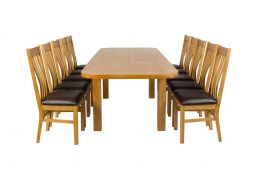 Country Oak 280cm Extending Oak Oval Table & 10 Chelsea Brown Leather Chairs