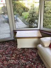 Customer photo 2 - Farmhouse country oak cream painted storage blanket box in a customers conservatory.