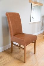Emperor Mocha Brown Leather Dining Chairs