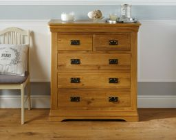 Farmhouse Country Oak 2 Over 3 Chest of Drawers Bedroom Furniture