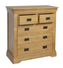 French Farmhouse Country Oak 2 Over 3 Chest of Drawers