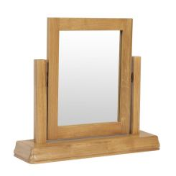 French Farmhouse Country Oak Dressing Table Mirror Stool Set