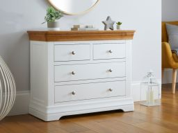 Farmhouse White Painted 2 Over 2 Oak Chest of Drawers