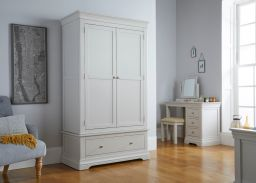 Toulouse Grey Painted Double Wardrobe with Drawer