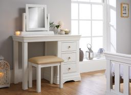 Toulouse White Painted Dressing Table Mirror Stool Bedroom Set