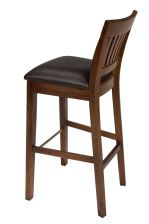 Java Dark American Solid Walnut Bar Stools Brown Leather