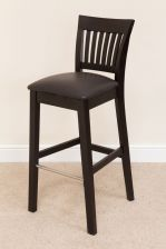 Java Solid Dark Brown Black Acacia Wooden Bar Stool With Dark Brown Leather Pad