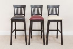 Java Dark Solid Acacia Wooden Bar Stool Red Leather Pad