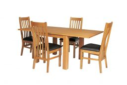 Lichfield 90cm to 180cm Flip Top Extending Table 4 Chelsea Brown Leather Chairs