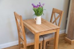 Small Solid Oak Dining Table Minsk 80cm x 60cm 2 Seater