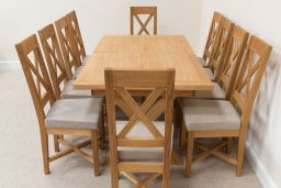 Provence 1.8m 2.3m 2.8m Double Butterfly Extending Cross Leg Oak Dining Table Sq