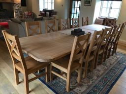 Provence 340cm large oak extending dining table made in the EU