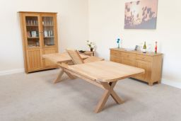 Provence 240cm to 290cm Oval Oak Table With Cross Legs