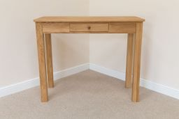 Minsk Tall 120cm x 50cm Breakfast Bar Solid Oak Dining Table With Drawer