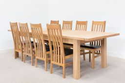Tallinn 2.4m to 2.9m Butterfly Extending Oak Table To Seat 10 People