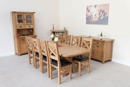 Cross Leg Table 230cm Country Oak Extending Dining Table Oval End