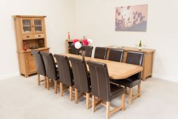 Country Oak 2.8m Large X Leg Double Extending Table Oval End
