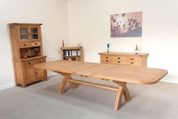 Country Oak 340cm X Leg Double Extending Large Dining Table Oval End