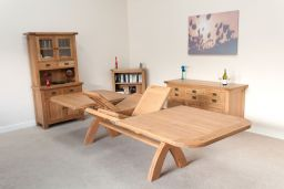 Country Oak 3.4m X Leg Double Extending Dining Table Oval End