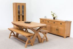 1.8m Country Oak Cross Leg Fixed Dining Table Oval End To Seat 8