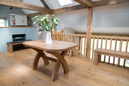 140cm X Leg Dining Table With Oval End