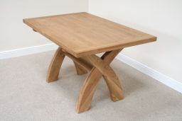 Country Oak 1.4m Cross Leg Dining Table (Sq End)